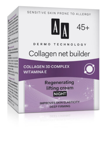 Collagen net builder 45+ regenerating lifting cream night improves skin elasticity deep firming