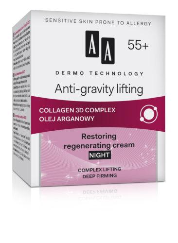Anti-gravity lifting 55+ restoring regenerating night cream complex lifting deep firming