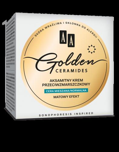 AA GOLDEN CERAMIDES aksamitny krem przeciwzmarszczkowy na dzień cera mieszana/normalna, 50 ml