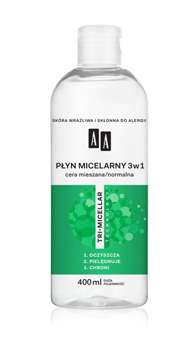 AA Płyn micelarny 3w1, cera mieszana/normalna, 400 ml