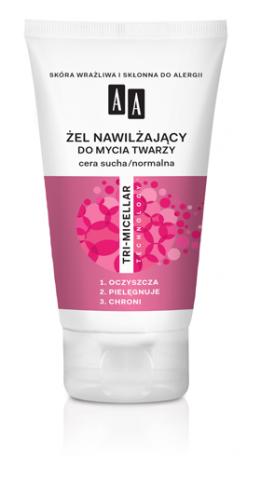AA Żel nawilżający do mycia twarzy, cera sucha/normalna, 150 ml