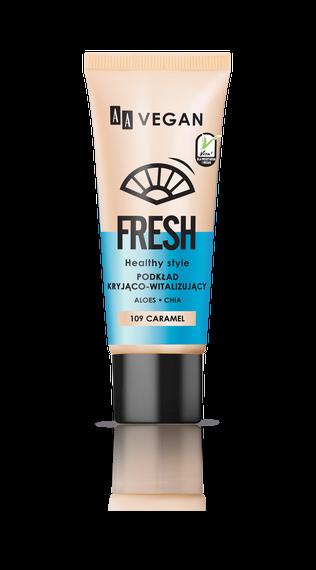 AA VEGAN FRESH Podkład Kryjąco Witalizujący 109 Caramel, 30 ml