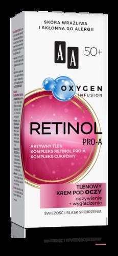 AA OXYGEN INFUSION 50+ retinol pro-a, tlenowy krem pod oczy