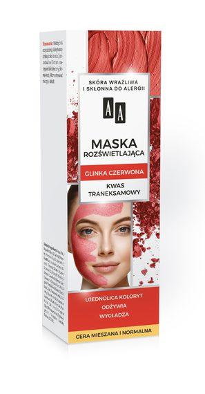 AA CARBON&CLAY Maska rozświetlająca z glinką czerwoną