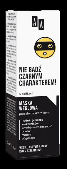 AA EMOJI Maska węglowa przeciw zaskórnikom 30 ml