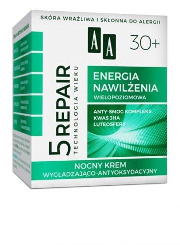AA Technologia Wieku 5Repair 30+ Energia Nawilżenia Nocny krem wygładzająco-antyoksydacyjny 50 ml