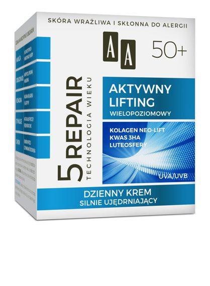 AA Technologia Wieku 5Repair 50+ Aktywny Lifting Dzienny krem silnie ujędrniający 50 ml