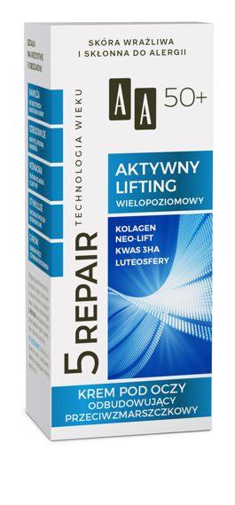 AA Technologia Wieku 5Repair 50+ Aktywny Lifting Krem pod oczy odbudowujący przeciwzmarszczkowy 15 ml