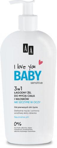 AA I Love you Baby 3w1 Łagodny żel do mycia włosków i ciała, do kąpieli i pod prysznic 400 ml