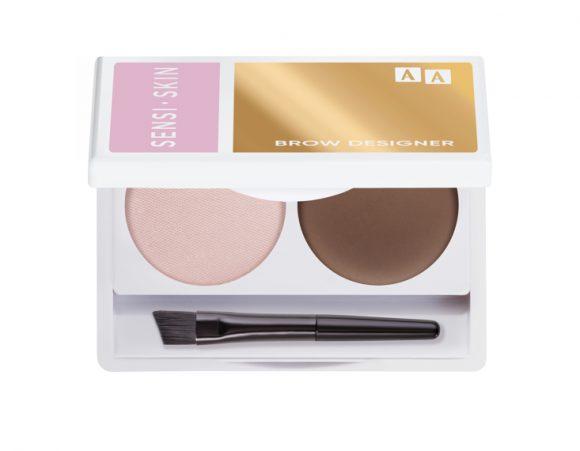 AA SENSISKIN  Brow Designer Eyebrow Wax And Highlighter Duo Set Koloryzujący Wosk Do Brwi I Rozświetlacz 10 Brown 2,2g