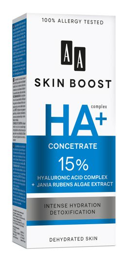 AA SKIN BOOST HA + Serum 15% Hialuronic Acid Complex + Jania Rubens Algae Extract, 30 ml