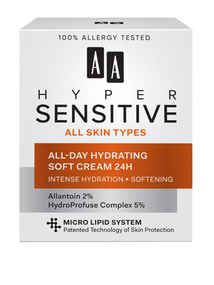 AA HYPERSENSITIVE SKIN ALL-DAY HYDRATING SOFT CREAM 24H 50 ML All skin types