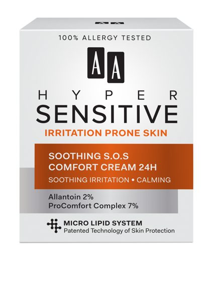 AA HYPERSENSITIVE SKIN SOOTHING S.O.S COMFORT CREAM 24H 50 ML Normal/dry skin