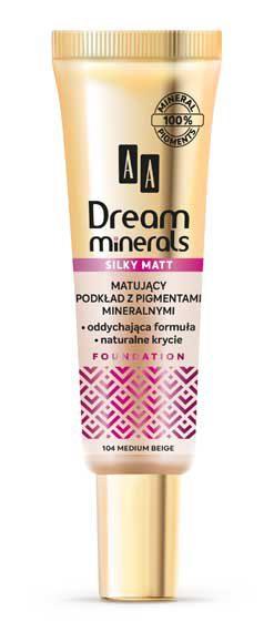 AA DREAM MINERALS SILKY MATT Matujący Podkład 104 Medium Beige, 30 ml