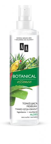 AA BOTANICAL ESSENCE Tonizująca mgiełka twarz szyja dekolt, łagodzenie+nawilżenie, aloes, cera sucha i normalna
