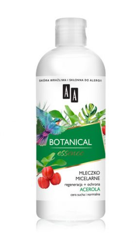 AA BOTANICAL ESSENCE Mleczko micelarne regeneracja+ochrona, acerola, cera sucha i normalna