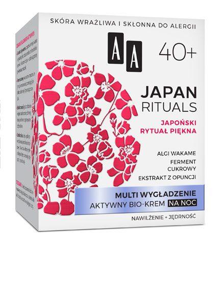 AA JAPAN RITUALS Multi wygładzenie Aktywny bio-krem na noc 40+, 50 ml