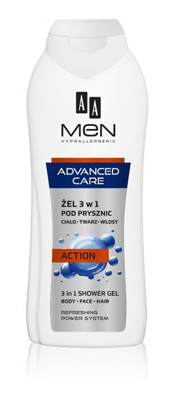 AA MEN ADVANCED CARE Żel pod prysznic 3w1 ACTION