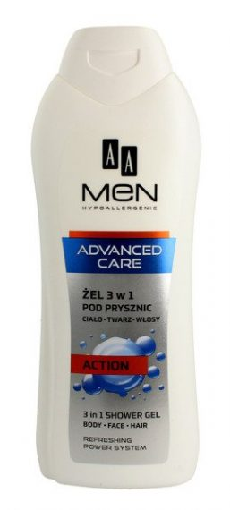 AA MEN ADVANCED CARE 3 in 1 Shower gel, body, face, hair, ACTION