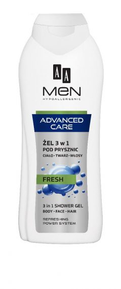 AA MEN ADVANCED CARE 3 in 1 Shower gel, body, face, hair, FRESH