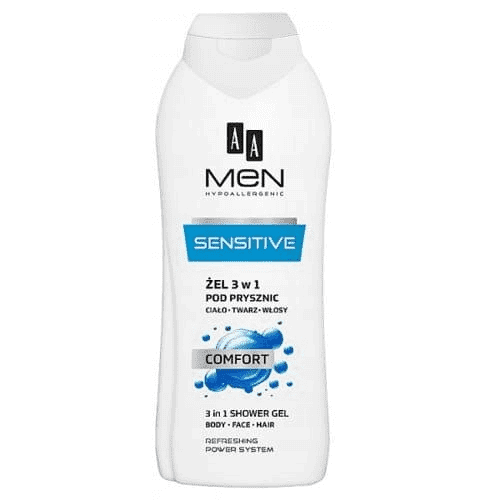 AA MEN SENSITIVE 3 in 1 Shower gel, body, face, hair, COMFORT