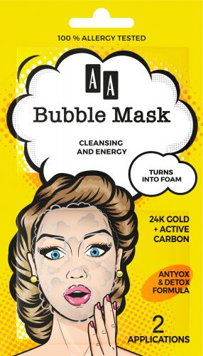AA BUBBLE MASK  Cleansing + Energy,  24K Gold + active carbon (2×4 ml)