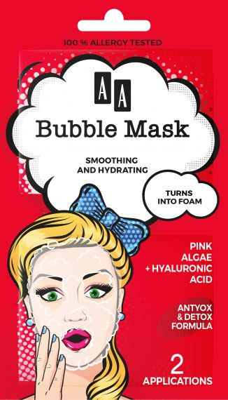 AA BUBBLE MASK  Wrinkle Smoothing + Hydration,  Pink algae + hyaluronic acid, 8 ml (2×4 ml)