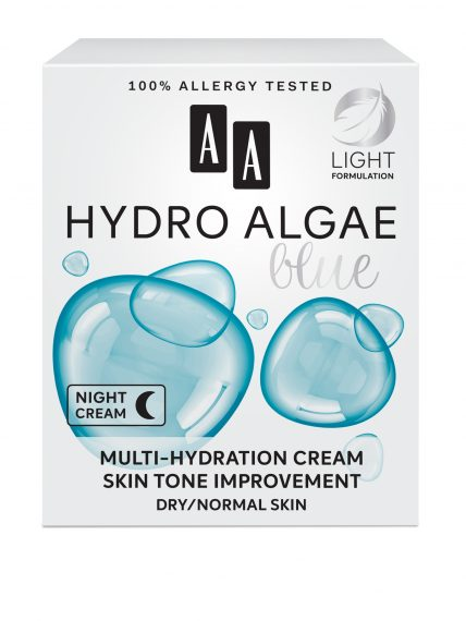 AA Hydro Algae Blue Multi-hydration cream,  skin tone improvement, dry/normal skin
