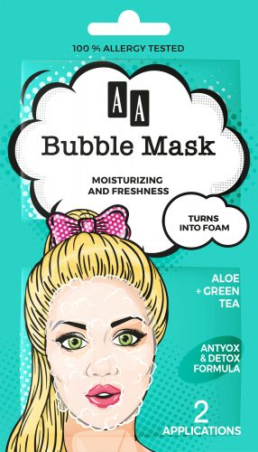 AA BUBBLE MASK  Moisturising + Freshness,  Aloe + green tea, 8ml (2×4 ml)