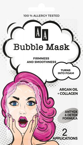 AA BUBBLE MASK  Firmness and smoothness,  Argan oil + collagen, 8ml (2×4 ml)