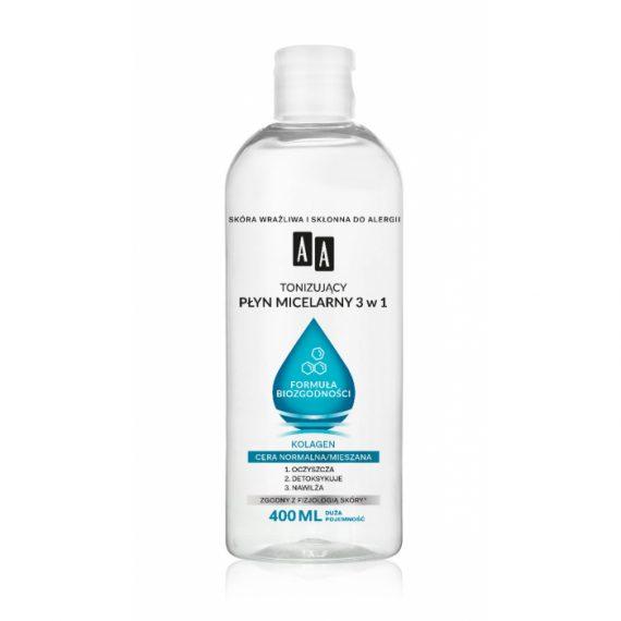 AA Tonizujący płyn micelarny 3 w 1 Formuła Biozgodności, Cera normalna, 400 ml