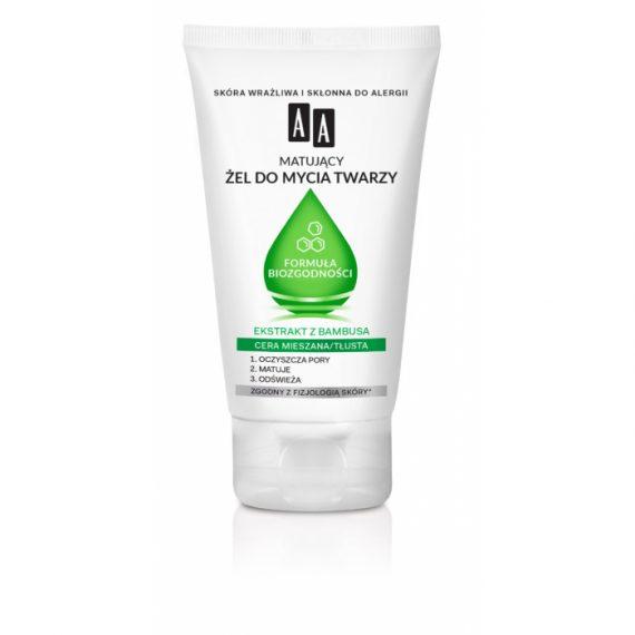 AA Matujący żel do mycia twarzy Formuła Biozgodności, Cera mieszana/tłusta, 150 ml