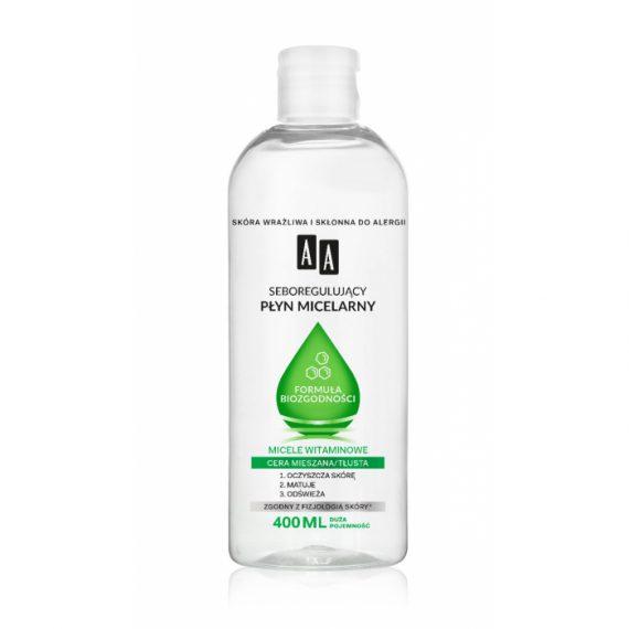 AA Seboregulujący płyn micelarny Formuła Biozgodności, Cera mieszana/tłusta, 400 ml
