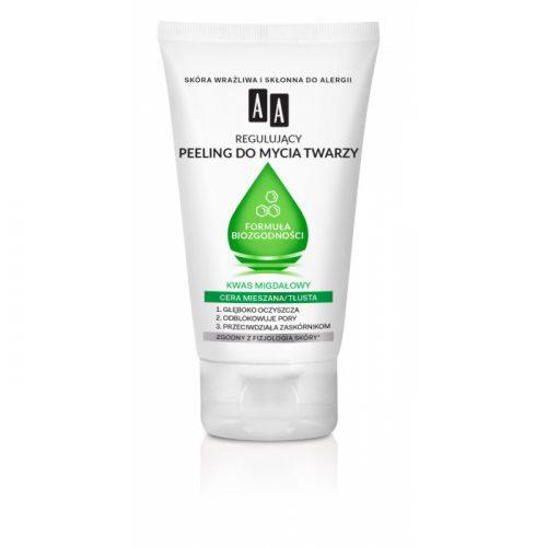 AA Regulujący peeling do mycia twarzy Formuła Biozgodności, Cera mieszana/tłusta, 150 ml