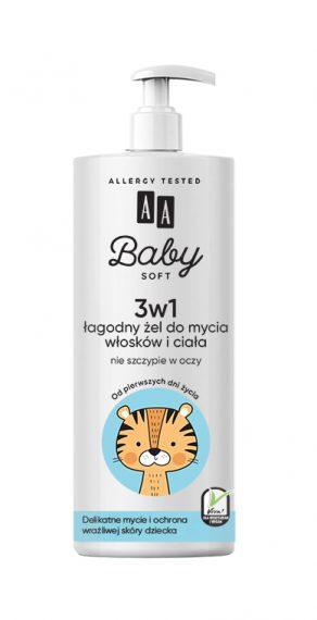 AA Baby Soft 3w1 Łagodny żel do mycia włosków i ciała, do kąpieli i pod prysznic 500ml