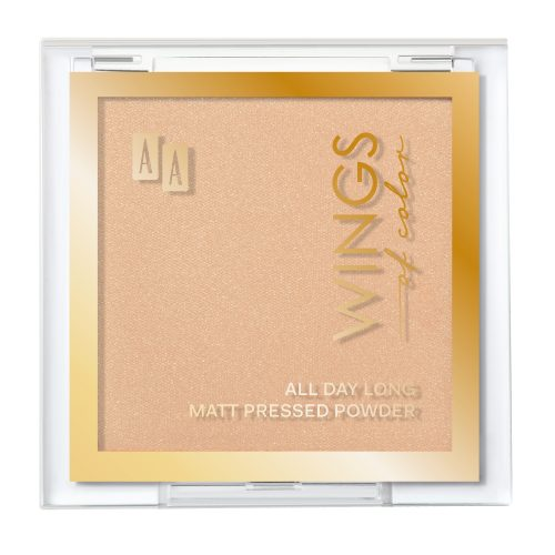 AA WINGS OF COLOR All Day Long Matt Pressed Powder Matujący Puder Prasowany 02 Light Beige 7g