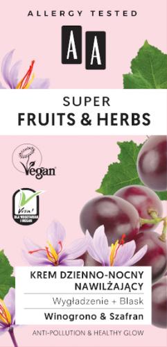 AA SUPER FRUITS&HERBS krem dzienno-nocny nawilżający wygładzenie+blask 50ml