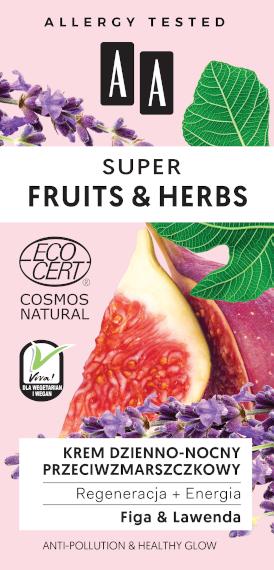 AA SUPER FRUITS&HERBS krem dzienno-nocny przeciwzmarszczkowy regeneracja+energia NATURAL 50ml