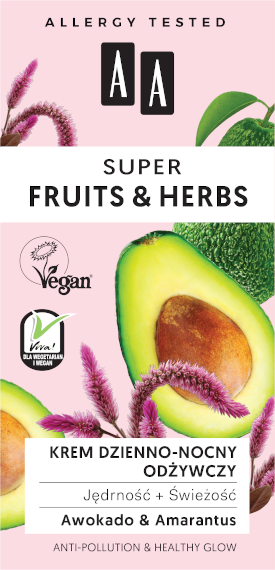 AA SUPER FRUITS&HERBS krem dzienno-nocny odżywczy jędrność+świeżość 50ml