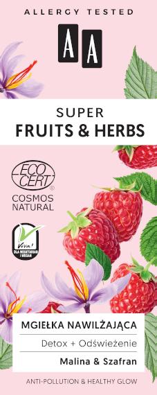 AA SUPER FRUITS&HERBS mgiełka nawilżająca detox+odświeżenie NATURAL 50ml