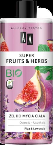 AA SUPER FRUITS&HERBS żel do mycia ciała figa&lawenda 500ml