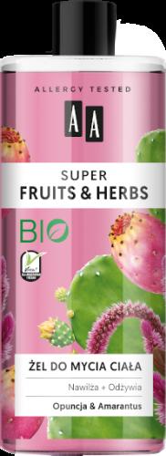 AA SUPER FRUITS&HERBS żel do mycia ciała opuncja&amarantus 500ml