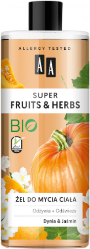 AA SUPER FRUITS&HERBS żel do mycia ciała dynia&jaśmin 500ml