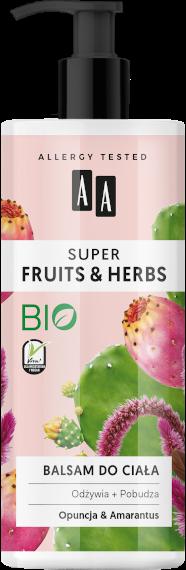 AA SUPER FRUITS&HERBS balsam do ciała opuncja&amarantus 500ml