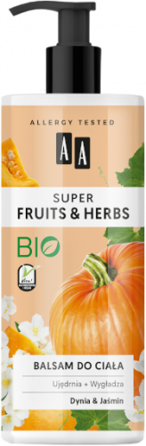 AA SUPER FRUITS&HERBS balsam do ciała dynia&jaśmin 500ml