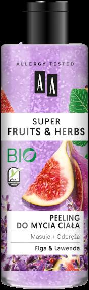 AA SUPER FRUITS&HERBS peeling do mycia ciała figa&lawenda 200ml