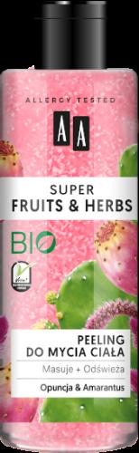 AA SUPER FRUITS&HERBS peeling do mycia ciała opuncja&amarantus 200ml
