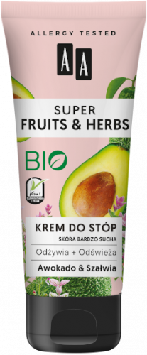 AA SUPER FRUITS&HERBS krem do stóp awokado&szałwia 75ml