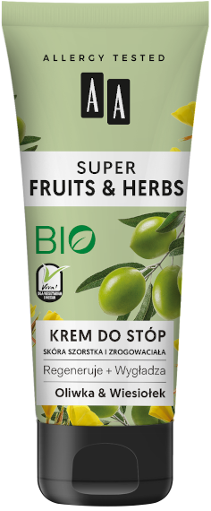 AA SUPER FRUITS&HERBS krem do stóp oliwka&wiesiołek 75ml
