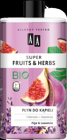 AA SUPER FRUITS&HERBS płyn do kąpieli figa&lawenda 750ml